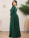 Plus Size Sexy V Neck A-Line Sequin Evening Dress-Dark Green 2