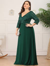 Plus Size Sexy V Neck A-Line Sequin Evening Dress-Dark Green 3