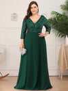 Plus Size Sexy V Neck A-Line Sequin Evening Dress-Dark Green 4