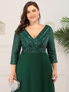 Plus Size Sexy V Neck A-Line Sequin Evening Dress-Dark Green 5