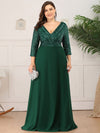 Plus Size Sexy V Neck A-Line Sequin Evening Dress-Dark Green 1