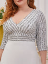Plus Size Sexy V Neck A-Line Sequin Evening Dress-White 5