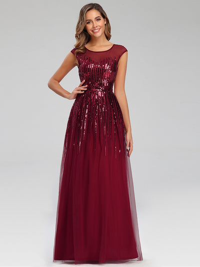 A-Line Cap Sleeve Sequins Patchwork Evening Dresses
