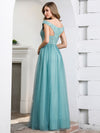 Off Shoulder Flowy Tulle Bridesmaid Dress With Sequin Belt-Dusty Blue  2