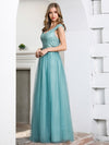 Off Shoulder Flowy Tulle Bridesmaid Dress With Sequin Belt-Dusty Blue 3