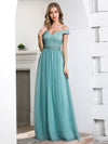 Off Shoulder Flowy Tulle Bridesmaid Dress With Sequin Belt-Dusty Blue  4