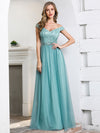 Off Shoulder Flowy Tulle Bridesmaid Dress With Sequin Belt-Dusty Blue 1