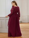 Classic Floal Lace Long Sleeve Bridesmaid Dress-Burgundy 2