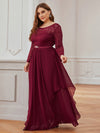 Classic Floal Lace Long Sleeve Bridesmaid Dress-Burgundy 3