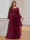 Classic Floal Lace Long Sleeve Bridesmaid Dress-Burgundy 4