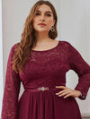 Classic Floal Lace Long Sleeve Bridesmaid Dress-Burgundy 5