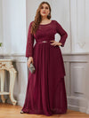 Classic Floal Lace Long Sleeve Bridesmaid Dress-Burgundy 1