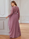 Classic Floal Lace Long Sleeve Bridesmaid Dress-Purple Orchid 2