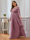 Classic Floal Lace Long Sleeve Bridesmaid Dress-Purple Orchid 3