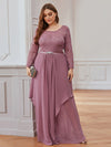 Classic Floal Lace Long Sleeve Bridesmaid Dress-Purple Orchid 4