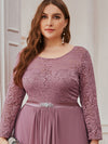Classic Floal Lace Long Sleeve Bridesmaid Dress-Purple Orchid 5