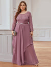 Classic Floal Lace Long Sleeve Bridesmaid Dress-Purple Orchid 1