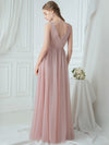 V-Neck Floor Length Appliqued Tulle Bridesmaid Dress-Blush 2