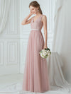 V-Neck Floor Length Appliqued Tulle Bridesmaid Dress-Blush 3