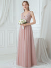 V-Neck Floor Length Appliqued Tulle Bridesmaid Dress-Blush 4