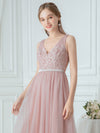 V-Neck Floor Length Appliqued Tulle Bridesmaid Dress-Blush 5