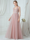 V-Neck Floor Length Appliqued Tulle Bridesmaid Dress-Blush 1