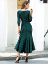 Mature Fishtail Midi Length Sequin Cocktail Dresses With Long Sleeve-Dark Green 2