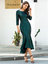 Mature Fishtail Midi Length Sequin Cocktail Dresses With Long Sleeve-Dark Green 3