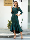 Mature Fishtail Midi Length Sequin Cocktail Dresses With Long Sleeve-Dark Green 4