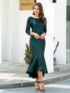 Mature Fishtail Midi Length Sequin Cocktail Dresses With Long Sleeve-Dark Green 1
