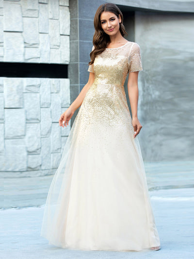 Gorgeous Sweetheart Short Sleeve Illusion Sequin  Evening Dresses