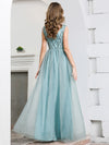 Deep V Neck A-Line Sleeveless Tulle Bridesmaid Dress with Irregular Sequin-2