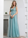 Deep V Neck A-Line Sleeveless Tulle Bridesmaid Dress with Irregular Sequin-3