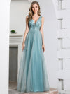 Deep V Neck A-Line Sleeveless Tulle Bridesmaid Dress with Irregular Sequin-4