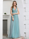 Deep V Neck A-Line Sleeveless Tulle Bridesmaid Dress with Irregular Sequin-1