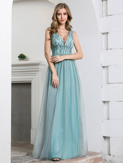 Deep V Neck A-Line Sleeveless Tulle Bridesmaid Dress with Irregular Sequin