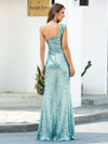 Shiny One Shoulder Fishtail Sequin Formal Evening Dress-Dusty Blue  2