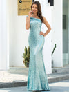 Shiny One Shoulder Fishtail Sequin Formal Evening Dress-Dusty Blue  4