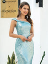 Shiny One Shoulder Fishtail Sequin Formal Evening Dress-Dusty Blue  5