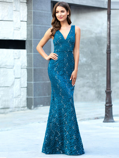 Elegant Doublue V Neck Fishtail Lace Formal Evening Dressses