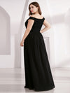 Plus Size Elegant Flowy V Neck Chiffon Evening Dress-Black 2