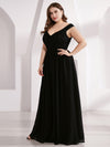 Plus Size Elegant Flowy V Neck Chiffon Evening Dress-Black 4