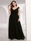 Plus Size Elegant Flowy V Neck Chiffon Evening Dress-Black 1
