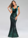 Fashion Mermaid Sequin & Velvet Prom Dresses For Women-Dark Green 1