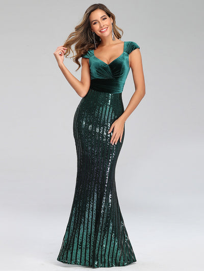 Fashion Mermaid Sequin & Velvet Prom Dresses for Women