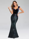 Fashion Mermaid Sequin & Velvet Prom Dresses For Women-Navy Blue 4