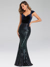 Fashion Mermaid Sequin & Velvet Prom Dresses For Women-Navy Blue 1