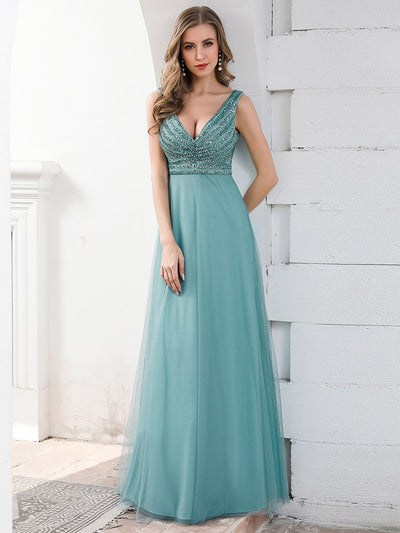 Double V Neckline Flowy Tulle Evening Dress with Sequin Stripes