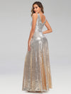 Deep V Neck A-Line Sleeveless Sequin Evening Dresses-Silver 2