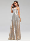 Deep V Neck A-Line Sleeveless Sequin Evening Dresses-Silver 3